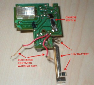 bottom side of flash charger, annotated