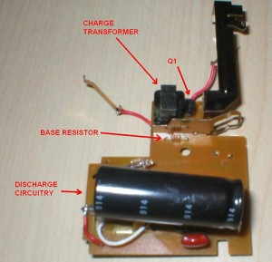 annotated topside of flash charger board