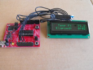 MSP430 Launchpad displaying internal temperature and elapsed time
