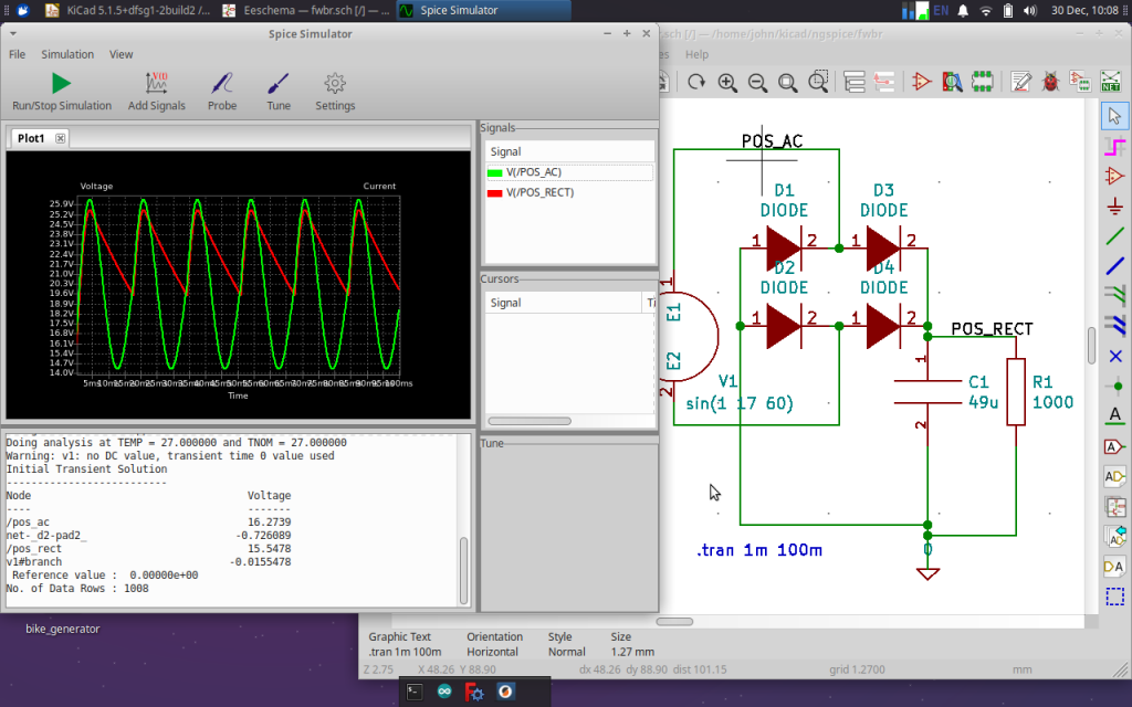 ngspice simulation of full wave bridge rectifier